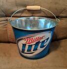 Miller Lite Beer Metal Ice Bucket 5 Quart Pail Bottle Holder w/ Handle