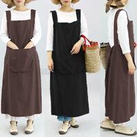 Women Strappy Home Cooking Chefs Kitchen Cotton Apron Plus Size Pinafore Dress