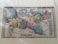 PRUSSIAN STATES ANTIQUE MID 19th CENTURY MAP BY T STARLING IN COLOUR