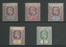 ST LUCIA  SG58-62 THE 1902-3  EVII  SET OF 5 MOUNTED MINT CAT £65