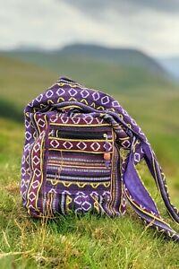Hippie Boho Shoulder Sling Bag Indian Festival Ethnic Purple Striped