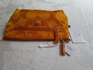 Coach Signature Nylon Orange Spice Cosmetic Pouch Travel Bag Clutch F77291 NWT