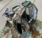 Rare Old Navajo Sterling & Turquoise Cluster Peyote Bird Design Cuff Bracelet C!