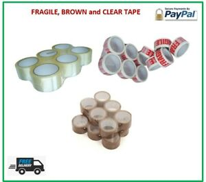 LONG LENGTH TAPE STRONG CLEAR BROWN FRAGILE 48mm x 66M PACKING PARCEL TAPE