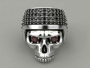 Gothic Skull Helmet Red & Black Cubic Zirconia Mens Biker oxidized Ring Silver