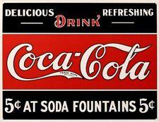 Coca Cola 5c At Soda Fountains metal sign 420mm x 310mm (de)