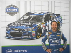 Jimmie Johnson signed 2015 #48 LOWES for PROS Chevy 8x10 Nascar Hero Card/Photo