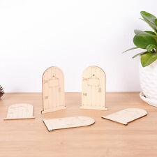 5pcs Wooden Unpainted Plaque Laser Cut Fairy Faerie Elf Doors Craft ^G
