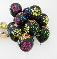 10X Star Black Neon colors Latex Balloons Happy Birthday B-day Party Decorations