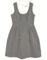REVIEW Women's Sz 12 White Black Flower Sleeveless Scoop Neck Fit & Flare Dress