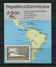 Q683 Dominican Republic 1987  aviation maps IMPERF sheet   MNH