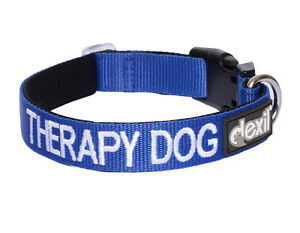 Colour Coded Blue THERAPY Dog Adjustable Strong Pet Collar Or Luxury Padded Lead