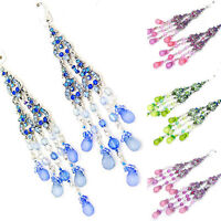 4.5 in BLUE PINK GREEN PURPLE CRYSTAL ACRYLIC CHANDELIER SILVER HOOK EARRINGS