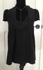 Aqua By Bloomingdales Black Cowl Neck Puff Sleeves Blouse Size S