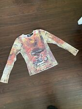 Harley Davidson Womens Longsleeve Shirt Large Full Graphic Bedazzled Motorcycle