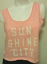 NEW VICTORIA'S SECRET SUNWASHED TERRY CROPPED TANK NEON CORAL SZ M MSRP $39.50