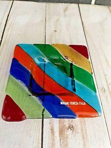 Vtg Murano Art Glass Rainbow Striped Square Jewelry Trinket Dish Ashtray MCM