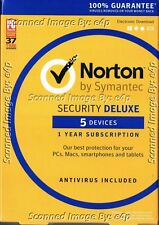 NORTON SECURITY DELUXE 2016 5 DEVICES 1 YEAR PC MAC ANDROID IOS BRAND NEW RETAIL