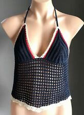 NWOT Navy Blue, Red & White ZARA TRAFALUC Halter Neck Crochet Top Size EUR S /8