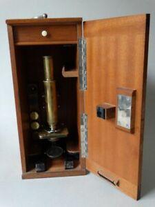 Antikes Ernst Leitz Wetzlar Mikroskop Nr. 18283 - Stativ 1A - im Holzkasten 1890
