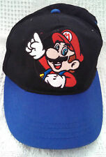SUPER MARIO BROS WHITE GLOVE SNAP BACK BALL CAP HAT BLACK/BLUE CLASSIC!