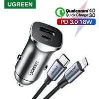 Ugreen Quick Charge 4.0 3.0 USB Car Charger Type C PD 18W Fast Charger Fr iPhone