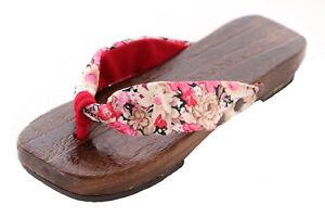 K-G-01-3 Rosa Blumen Geta Japan Holz Sandale Tabi Kimono Geisha Zehentrenner