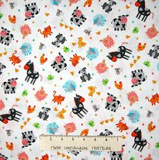 Nursery Baby Fabric - Funny Farm Pig Cow Cat Animal Toss White - Studio E YARD