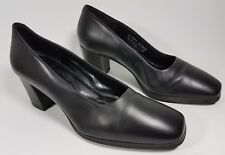 Rockport black leather mid block heel shoes uk 6 w eu 39