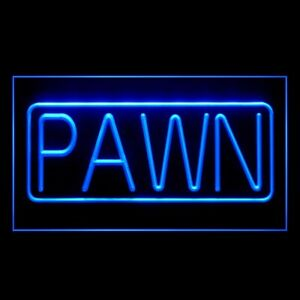 190038 PAWN Shop Gold Black Historic Colored Jewelry Display Neon Sign