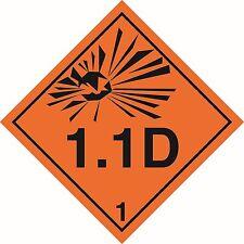 """Health and safety Hazard sticker Explosive 1.1D sticker 5"""" orange"""