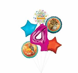 Lion King Party Supplies 4th Birthday Balloon Bouquet Decorations - Pink Numb...