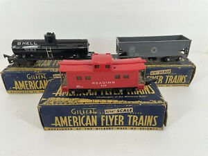 Lot of 3 Gilbert American Flyer Trains Cars With Boxes 3/16 scale - S guage