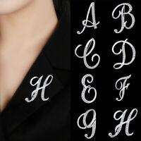 la solapa inicial Rhinestone clip Broche de cristal carta 26 letras en ingles