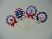 Nautical Cupcake topper/ Red nautical cupcake topper/Nautical Theme  2 dozen