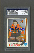 Tony Esposito signed Chicago Blackhawks 1969 Opc Rookie hockey card Psa