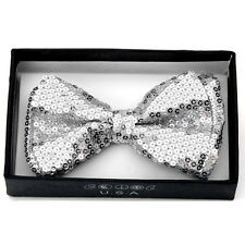 Unisex Pretied Bow tie Wedding Prom Tuxedo Sparkle  ~ Silver Sequins BOT505