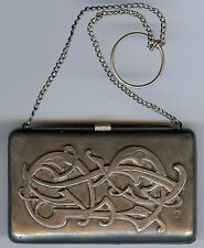 ANTIQUE HALLMARKED RUSSIAN ENGRAVED SOLID SILVER COIN PURSE WITH CHAIN