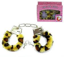 SEXY FUR LINED LEOPARD PRINT HANDCUFFS hand cuff NEW gag gifts pranks restraints
