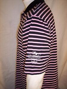 Peter Millar L/Med Pink/Black Poly/Spandex Golf Shirt Arnold Palmer Invitational