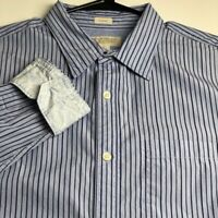 Banana Republic Mens Long Sleeve Button Up Shirt Large L Stripes Slim Fit Pocket