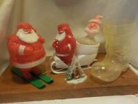 4 Vintage Christmas Rosbro Plastics Santa on Green Skis & Sleigh Boot