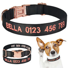 Heavy Duty Personalised Dog Collar Puppy Embroidered ID Name Small Medium Large