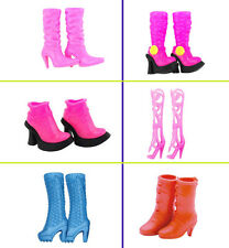 6 Pairs Different Barbie Doll Dress Accessories Knee High Long Boots Heels Shoes
