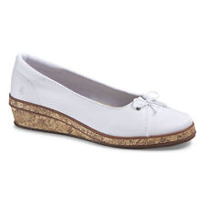 Grasshopper Brooke White Wedge Shoes Sz 7 NWOB