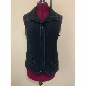 Zenergy Chico's Black Vest Snap Up Fitted