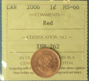 Canada 2006 Penny (Cent) - Graded by ICCS MS-66 (Red) - Non-Magnetic