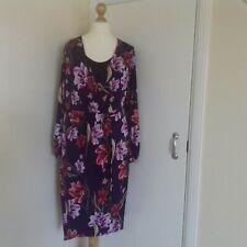 M&S Wrap Dress Size 18 Purple Floral Stretch Midi Party Wedding BNWT
