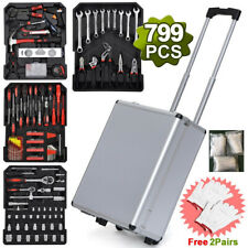 799pcs Aluminum Trolley Case Tool Set  Mechanics Wrenches Socket Box Organizer