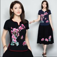 Embroidery Chinese Women's Top V-Neck T-shirt Blouse Cheongsam QiPao M-4XL